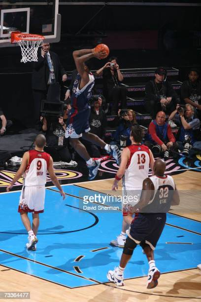 LeBron James of the Eastern Conference shoots against Tony Parker of the Western Conference during the 2007 NBA All-Star Game on February 18, 2007 at...