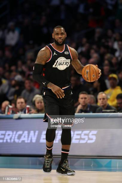 LeBron James of the LA Lakers and Team LeBron brings the ball upcourt against Team Giannis in the second quarter during the NBA AllStar game as part...