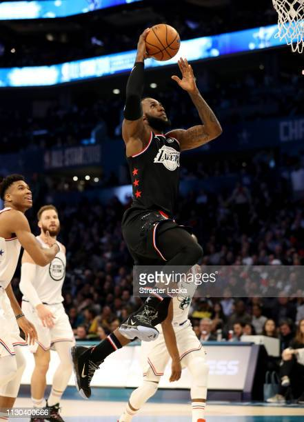 LeBron James of the LA Lakers and Team LeBron drives to the basket against Team Giannis in the first quarter during the NBA AllStar game as part of...