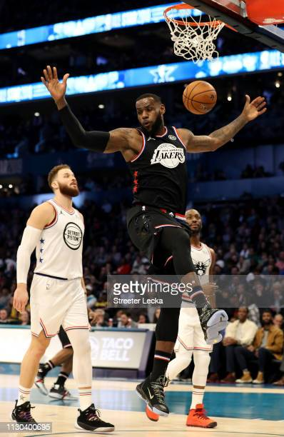 LeBron James of the LA Lakers and Team LeBron dunks against Team Giannis in the first quarter during the NBA AllStar game as part of the 2019 NBA...