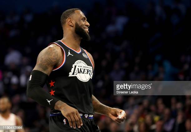 LeBron James of the LA Lakers and Team LeBron reacts in the first half during the NBA AllStar game as part of the 2019 NBA AllStar Weekend at...