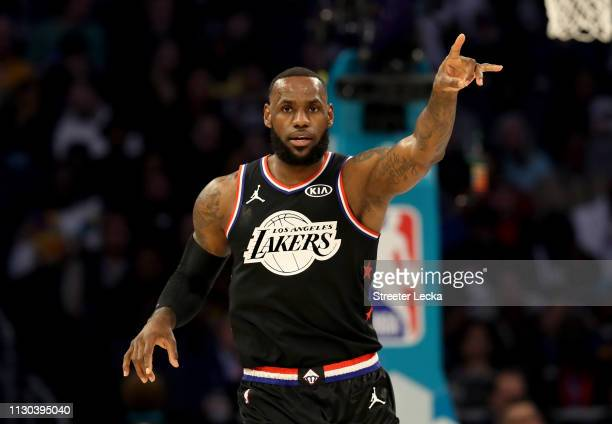 LeBron James of the LA Lakers and Team LeBron reacts in the first quarter during the NBA AllStar game as part of the 2019 NBA AllStar Weekend at...