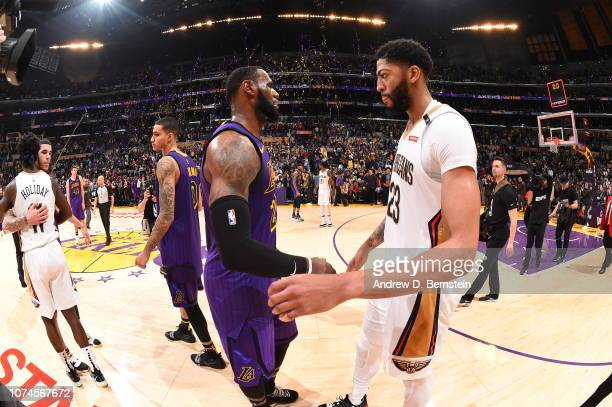 LeBron James of the Los Angeles Lakers and Anthony Davis of the New Orleans Pelicans shake hands after a game on December 21 2018 at STAPLES Center...