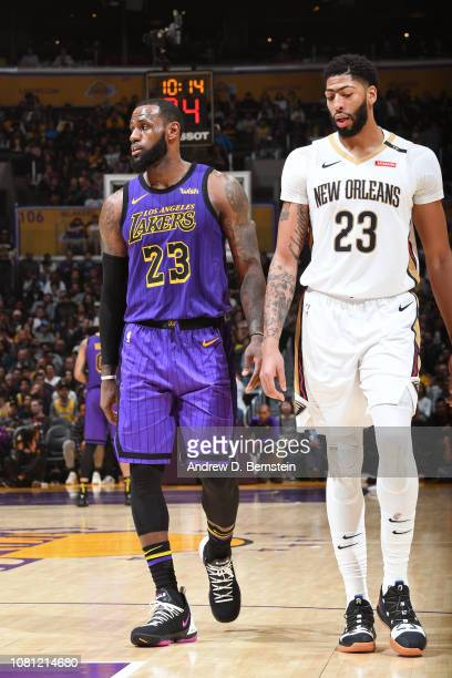 LeBron James of the Los Angeles Lakers and Anthony Davis of the New Orleans Pelicans are seen during the game on December 21 2018 at STAPLES Center...