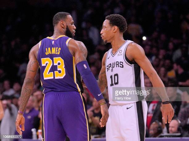 LeBron James of the Los Angeles Lakers and DeMar DeRozan of the San Antonio Spurs shake hands at the end of the game during a 121113 Laker win at...