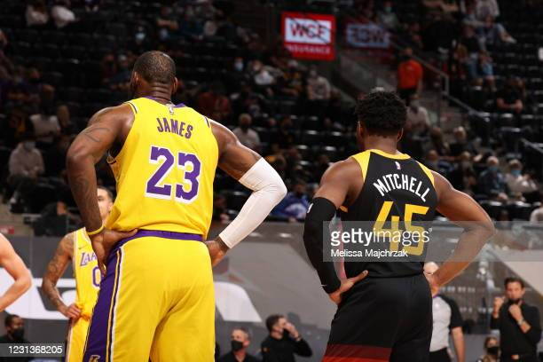 LeBron James of the Los Angeles Lakers and Donovan Mitchell of the Utah Jazz looks on during the game on February 24, 2021 at vivint.SmartHome Arena...
