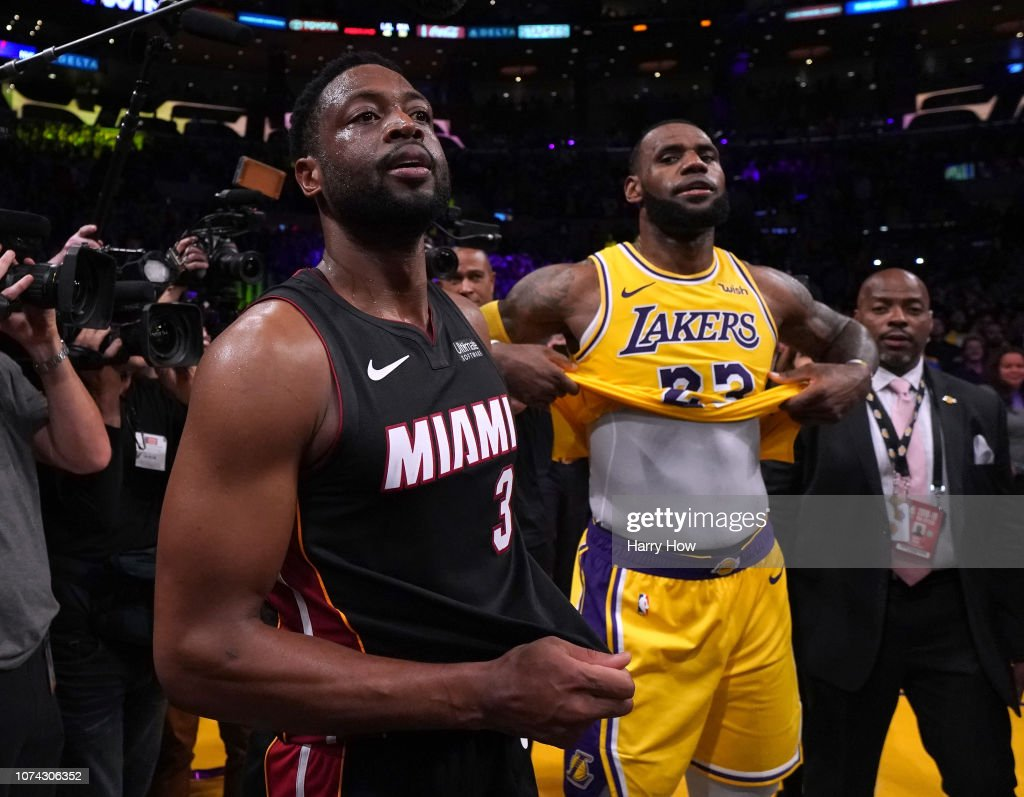 6d7ec440fdb LeBron James of the Los Angeles Lakers and Dwyane Wade of the Miami ...