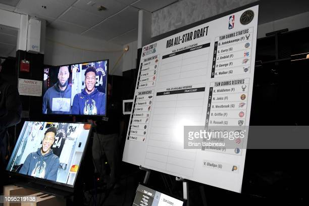 LeBron James of the Los Angeles Lakers and Giannis Antetokounmpo of the Milwaukee Bucks discuss their AllStar teams during the 2019 AllStar Draft on...