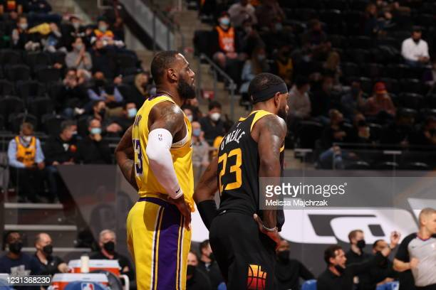 LeBron James of the Los Angeles Lakers and Royce O'Neale of the Utah Jazz looks on during the game on February 24, 2021 at vivint.SmartHome Arena in...