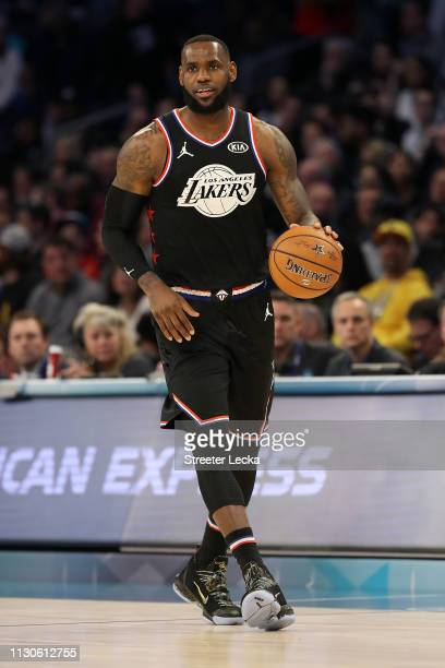 LeBron James of the Los Angeles Lakers and Team LeBron dribbles as they take on Team Giannis during the NBA AllStar game as part of the 2019 NBA...