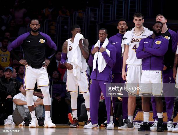 LeBron James of the Los Angeles Lakers and the Laker bench look on during a 121107 loss to the Toronto Raptors at Staples Center on November 4 2018...