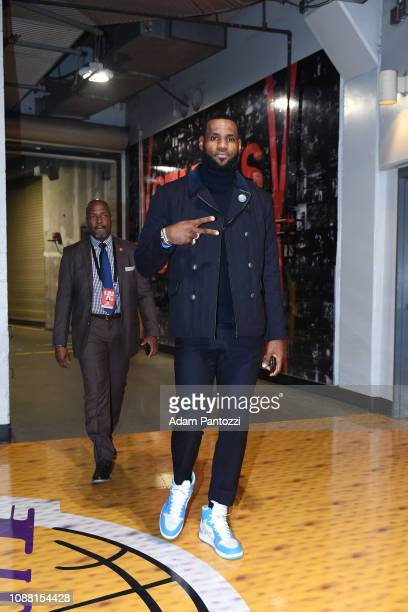 LeBron James of the Los Angeles Lakers arrives at the arena before the game against the Minnesota Timberwolves on January 24 2019 at STAPLES Center...