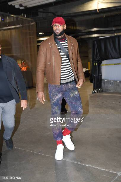 LeBron James of the Los Angeles Lakers arrives before the game against the LA Clippers on January 31 2019 at STAPLES Center in Los Angeles California...