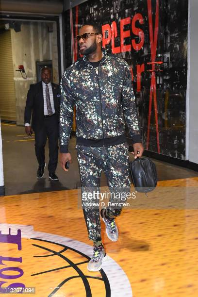 LeBron James of the Los Angeles Lakers arrives before the game against the Sacramento Kings on March 24 2019 at STAPLES Center in Los Angeles...