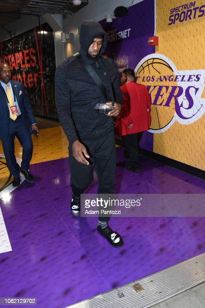 LeBron James of the Los Angeles Lakers arrives for the game against the Cleveland Cavaliers on January 13 2019 at STAPLES Center in Los Angeles...