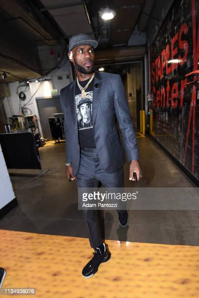 LeBron James of the Los Angeles Lakers arrives prior to a game against the Golden State Warriors on April 4 2019 at STAPLES Center in Los Angeles...