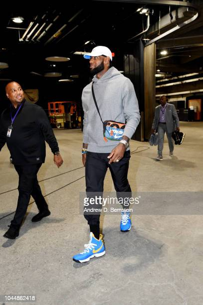 LeBron James of the Los Angeles Lakers arrives to the arena ahead of the preseason game against the Denver Nuggets on October 2 2018 at STAPLES...