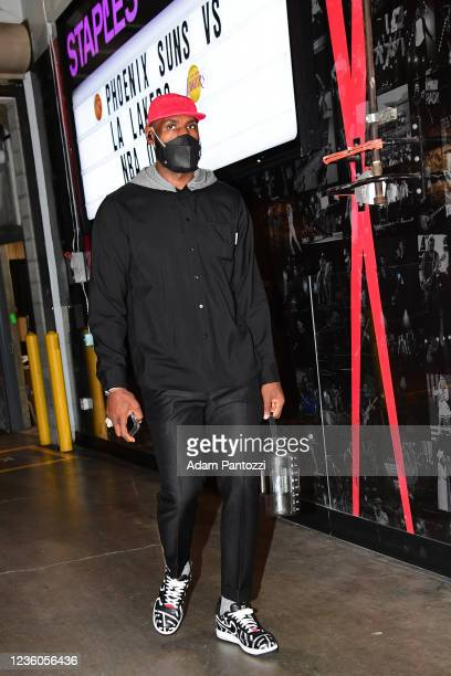 LeBron James of the Los Angeles Lakers arrives to the arena before the game against the Phoenix Suns on October 22, 2021 at STAPLES Center in Los...