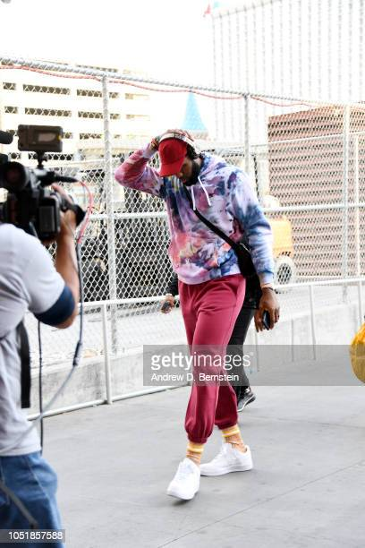 LeBron James of the Los Angeles Lakers arrives to the arena prior to the preseason game against the Golden State Warriors on October 10 2018 at...
