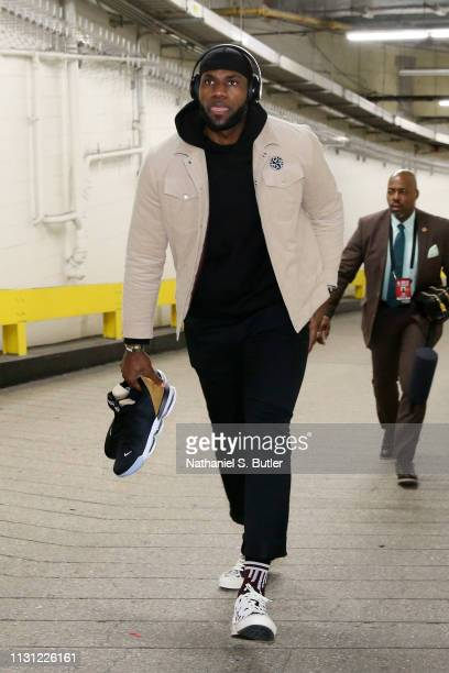 LeBron James of the Los Angeles Lakers arrives to the arena prior to the game against the New York Knicks on March 17 2019 at Madison Square Garden...