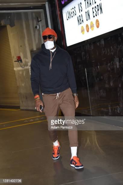 LeBron James of the Los Angeles Lakers arrives to the arena prior to the game against the Portland Trail Blazers on February 26, 2021 at STAPLES...