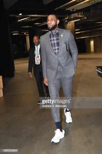 LeBron James of the Los Angeles Lakers arrives to the game against the Detroit Pistons on January 9 2019 at STAPLES Center in Los Angeles California...