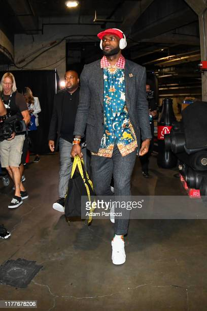 LeBron James of the Los Angeles Lakers arrives to the game against the LA Clippers on October 22 2019 at STAPLES Center in Los Angeles California...