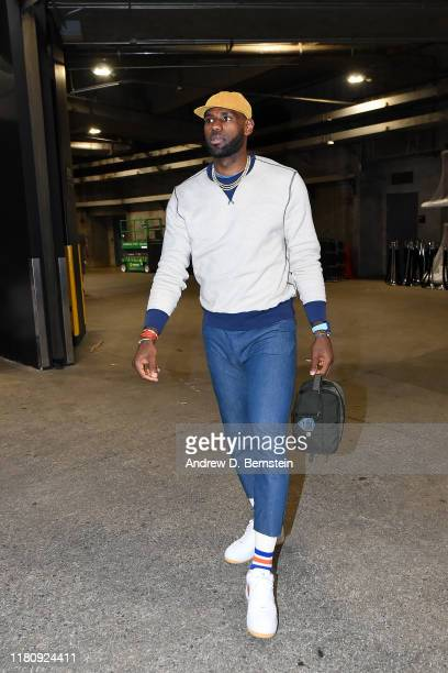 LeBron James of the Los Angeles Lakers arrives to the game against the Miami Heat on November 8 2019 at STAPLES Center in Los Angeles California NOTE...