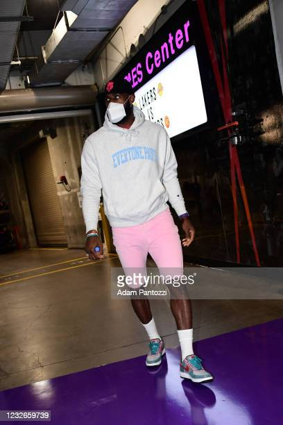 LeBron James of the Los Angeles Lakers arrives to the game against the Toronto Raptors on May 2, 2021 at STAPLES Center in Los Angeles, California....