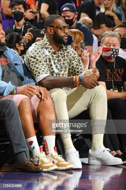 LeBron James of the Los Angeles Lakers attends a game between the Phoenix Suns and Milwaukee Bucks during Game Five of the 2021 NBA Finals on July...