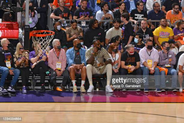 LeBron James of the Los Angeles Lakers attends Game Five of the 2021 NBA Finals on July 17, 2021 at Footprint Center in Phoenix, Arizona. NOTE TO...