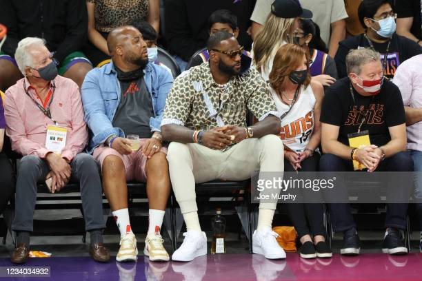 July 17: LeBron James of the Los Angeles Lakers attends the Milwaukee Bucks game against the Phoenix Suns during Game Five of the 2021 NBA Finals on...