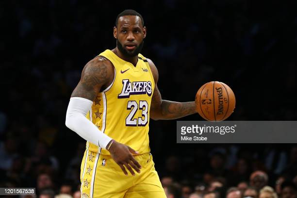 LeBron James of the Los Angeles Lakers carries the ball against against the Brooklyn Nets at Barclays Center on January 23 2020 in New York City NOTE...