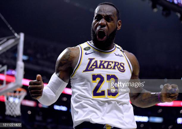 LeBron James of the Los Angeles Lakers celebrate his basket and LA Clippers foul during a 112103 Lakers win at Staples Center on March 08 2020 in Los...