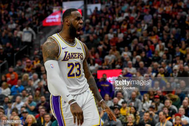 LeBron James of the Los Angeles Lakers celebrates a dunk during a game against the Utah Jazz at Vivint Smart Home Arena on December 4 2019 in Salt...