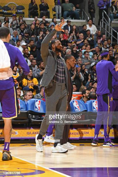 LeBron James of the Los Angeles Lakers celebrates a made three point basket during the game against the Detroit Pistons on January 9 2019 at STAPLES...
