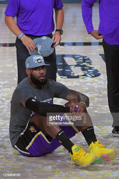 LeBron James of the Los Angeles Lakers celebrates after winning Game Five of the Western Conference Finals of the NBA Playoffs against the Denver...