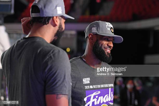 LeBron James of the Los Angeles Lakers celebrates after winning Game Five of the Western Conference Finals against the Denver Nuggets on September 26...
