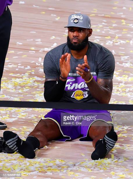 LeBron James of the Los Angeles Lakers celebrates being Western Conference Champions against Denver Nuggets in Game Five of the Western Conference...