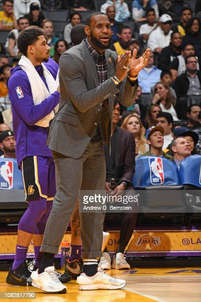 LeBron James of the Los Angeles Lakers celebrates during the game against the Detroit Pistons on January 9 2019 at STAPLES Center in Los Angeles...