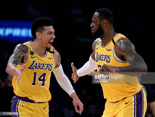 LeBron James of the Los Angeles Lakers celebrates his basket with Danny Green during a 113103 Laker win over the Milwaukee Bucks at Staples Center on...