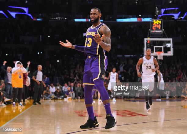 LeBron James of the Los Angeles Lakers celebrates his three pointer during a 121113 win over the San Antonio Spurs at Staples Center on December 5...