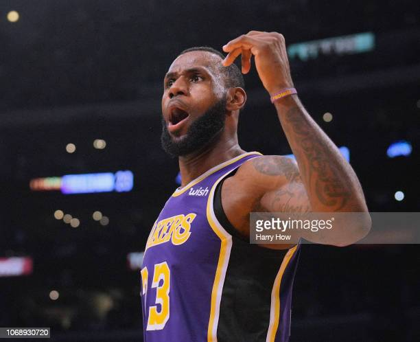 LeBron James of the Los Angeles Lakers celebrates his three pointer during a 121-113 win over the San Antonio Spurs at Staples Center on December 5,...