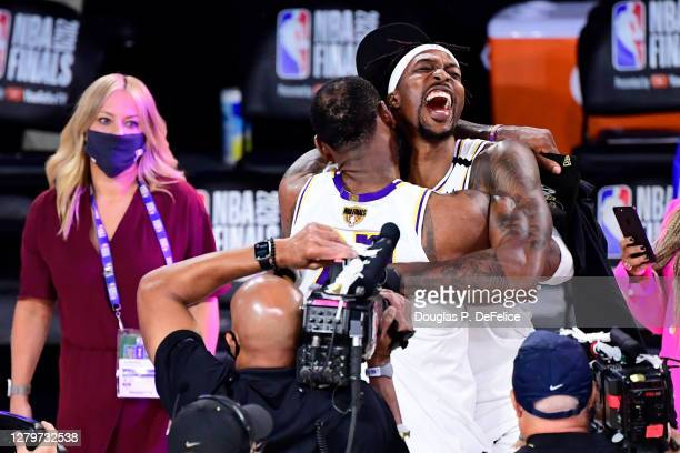LeBron James of the Los Angeles Lakers celebrates with Dwight Howard of the Los Angeles Lakers after winning the 2020 NBA Championship in Game Six of...