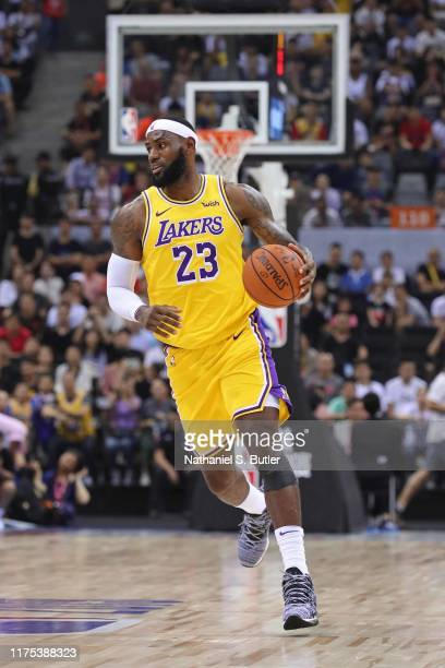 LeBron James of the Los Angeles Lakers dribbles the ball against the Brooklyn Nets during a preseason game as part of 2019 NBA Global Games China on...
