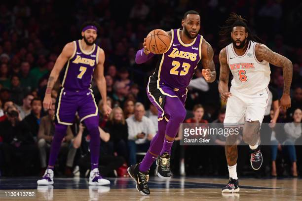 LeBron James of the Los Angeles Lakers dribbles the ball during the first half of the game against the New York Knicks at Madison Square Garden on...