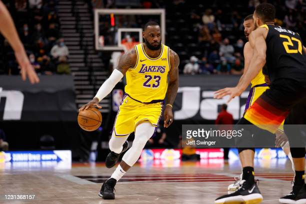 LeBron James of the Los Angeles Lakers dribbles the ball during the game against the Utah Jazz on February 24, 2021 at vivint.SmartHome Arena in Salt...