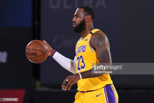 LeBron James of the Los Angeles Lakers dribbles the ball up court on August 13 2020 at The Field House in Orlando Florida NOTE TO USER User expressly...
