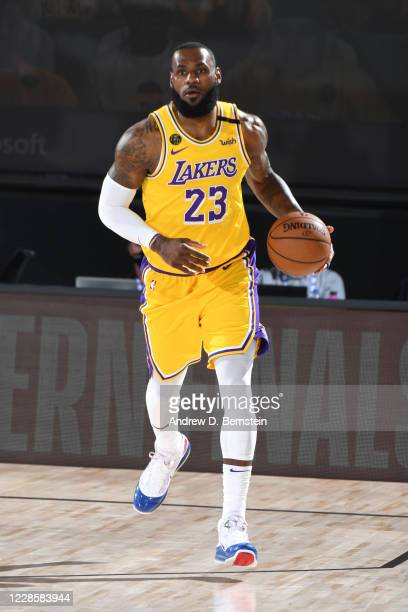 LeBron James of the Los Angeles Lakers dribbles the ball up court during Game One of the Western Conference Finals of the NBA Playoffs on September...
