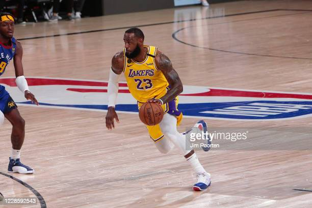 LeBron James of the Los Angeles Lakers drives during the game against the Denver Nuggets in Game one of the Western Conference Finals of the 2020...